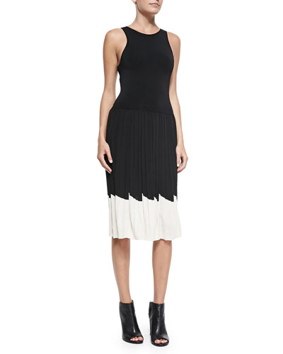 Trina Turk Karolyn Pleated Contrast-Hem Dress