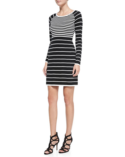 Trina Turk Violetta Long-Sleeve Contrast-Stripe Dress