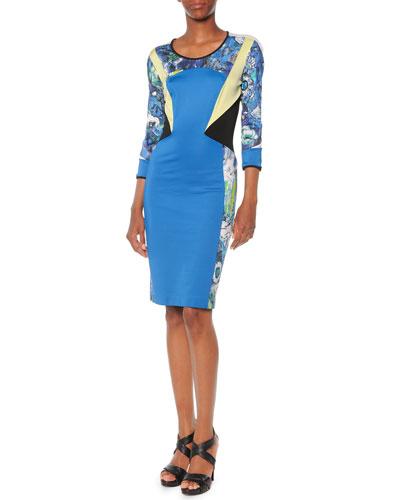 Printed Blocked Jersey Dress