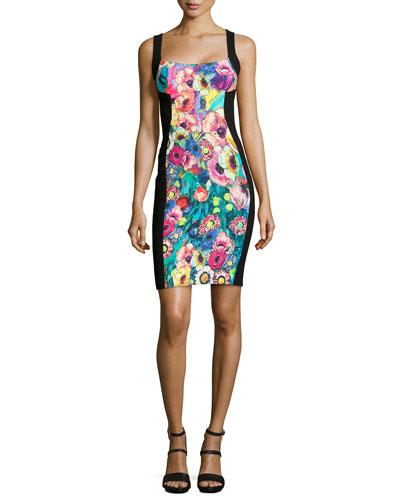 Paneled Floral-Print Bustier Dress
