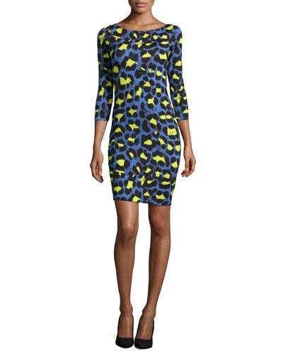 Leopard-Print Jersey Sheath Dress, Bluette