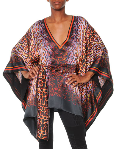 Psychedelic Leopard-Print Caftan Top