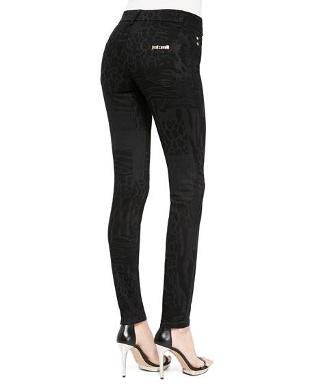 Laser Patch Leo-Print Jeans
