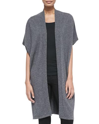 Neiman Marcus Cashmere Short-Sleeve Long Vest