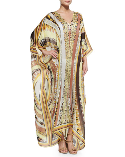 Printed V-Neck Long Caftan Coverup, Yellow Sun