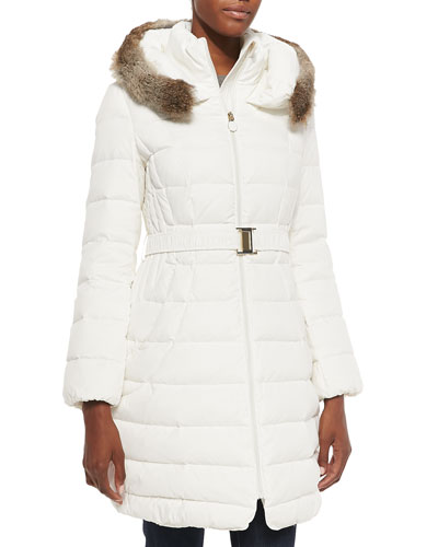 Tokyo Belted Puffer Coat with Fur-Trim Hood