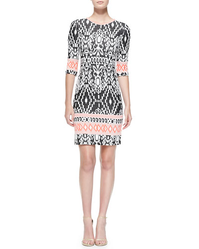 Half-Sleeve Modern Tribe-Contrast Dress