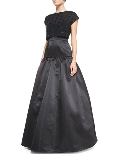 Camille Crop-Top Tulip-Skirt Gown