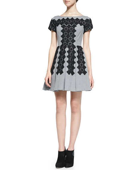Tracy Reese Embroidered Pleated Skirt Party Dress Neiman