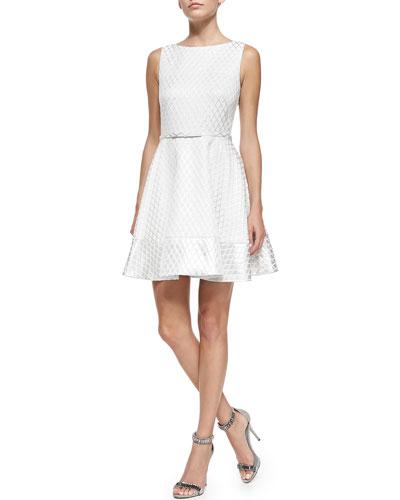 Kelsey Diamond-Print Fit & Flare Dress