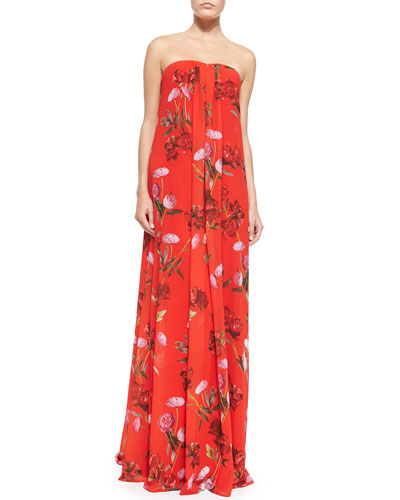 Daria Strapless Floral Trapeze Gown