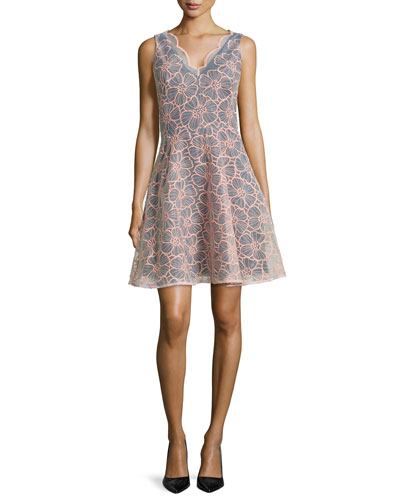 Vanessa Sleeveless Floral Embroidered Dress