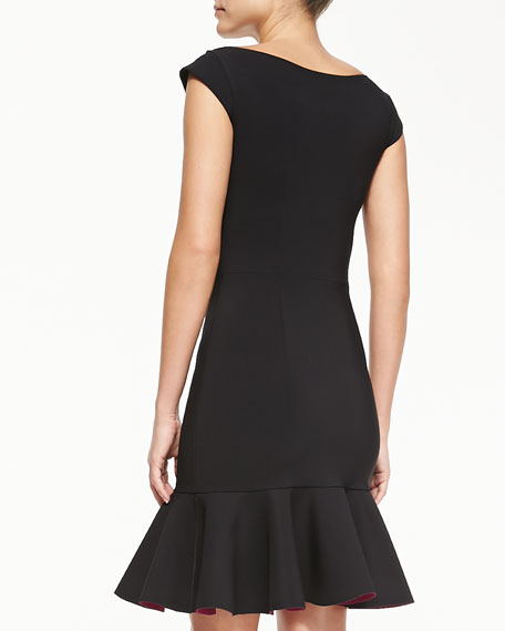 Loredana Cap-Sleeve Dress W/ Bicolor Flounce