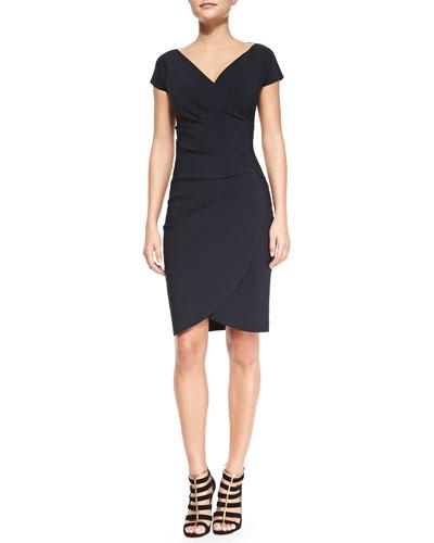 La Petite Robe di Chiara Boni Emerentienne Faux-Wrap Jersey Cocktail Dress, Navy
