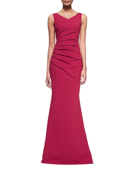 Claudia Sleeveless Ruched Gown