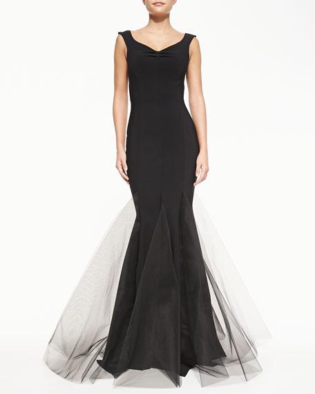 La Petite Robe di Chiara Boni Couture Diva V-Neck Gown with Tulle Hem