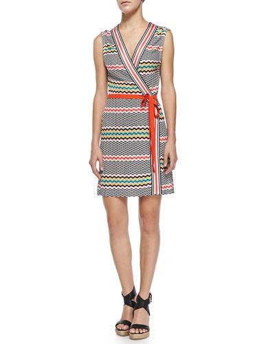 Copricost Printed/Striped Wrap Dress