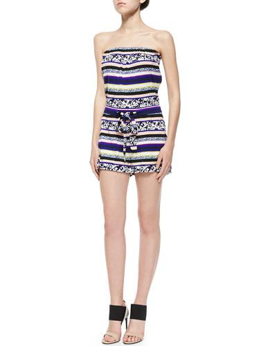 Miranda Striped Strapless Short Jumpsuit