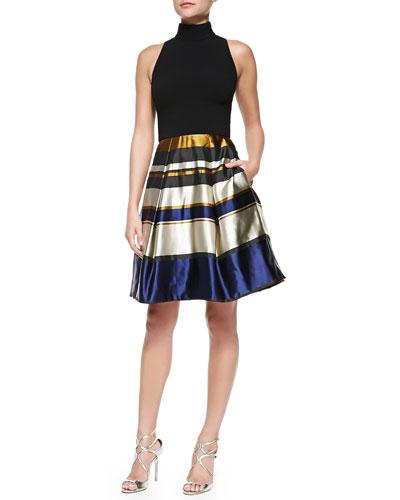 Sleeveless Party Dress W/ Striped Skirt