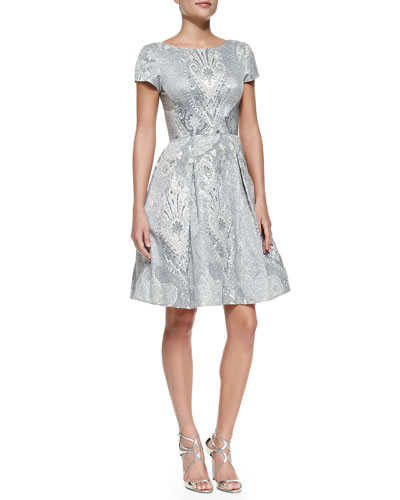 Short-Sleeve Baroque-Print Party Dress
