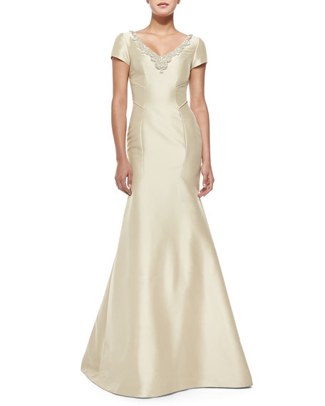 Theia Short-Sleeve Beaded-Neck Mermaid Gown