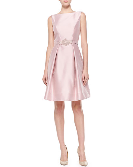 Satin Party Dress with Beaded Belt