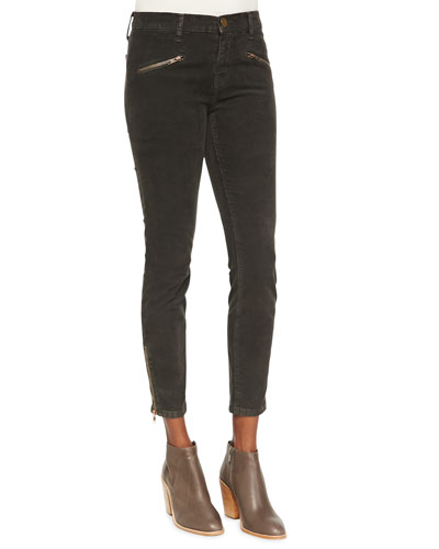 Current/Elliott The Soho Zip Stiletto Twill Pants, Gunmetal