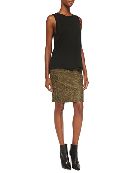 The Soho Zip Stiletto Pencil Skirt, Army Dirty Paws