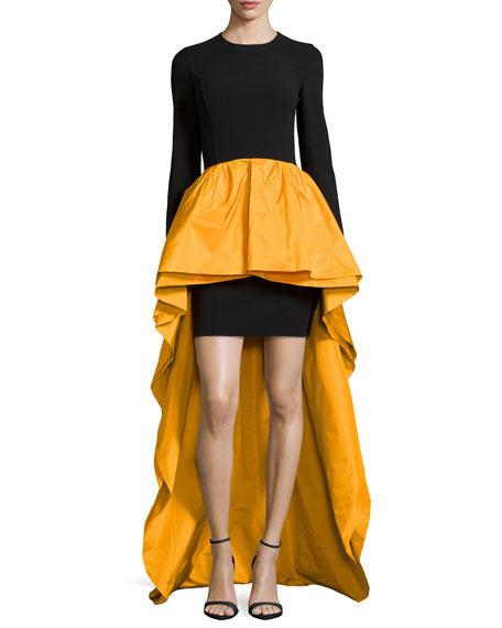 Long-Sleeve Knit & Taffeta Peplum Gown