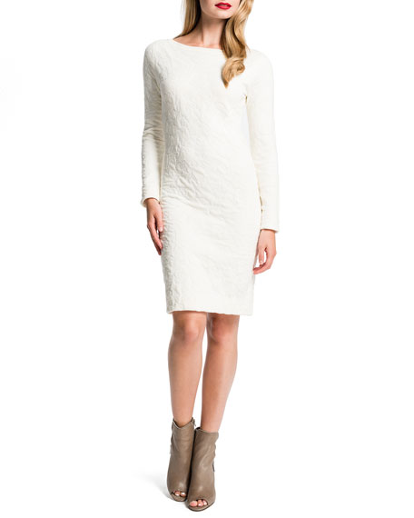Jude Puckered Long-Sleeve Sheath Dress