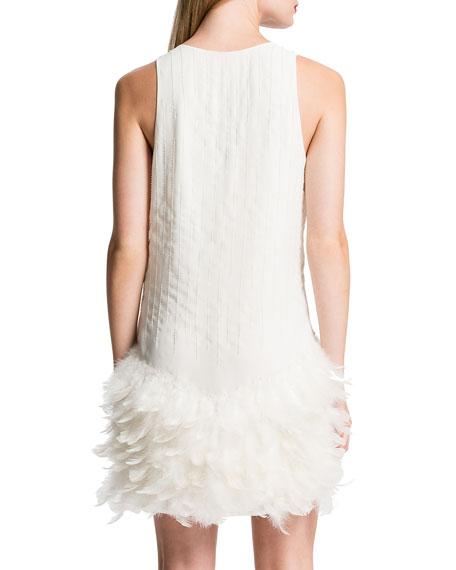 Cynthia Steffe Hattie Feather-Hem Dress, Porcelain