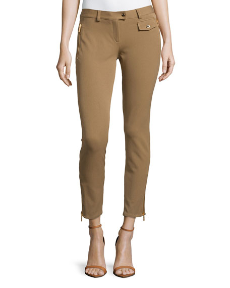 Twill Zip-Pocket Ankle Pants, Chino