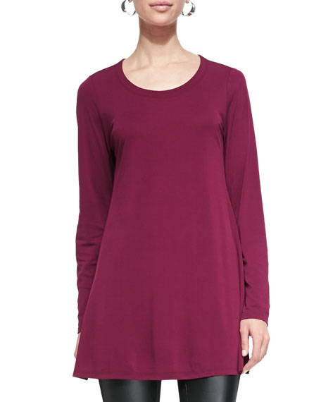Eileen Fisher Silk Jersey Long-Sleeve Tunic, Rumberry