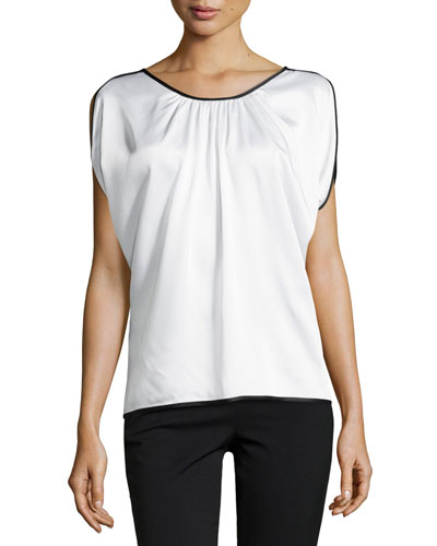 Satin Charmeuse Top with Binding, White