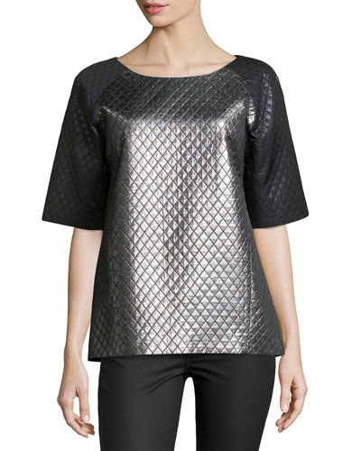 Quilted Laminated Colorblock Tunic, Silver