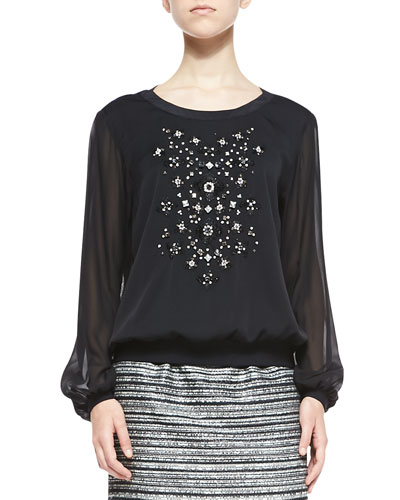 Milly Long-Sleeve Top W/ Hand-Beaded Front