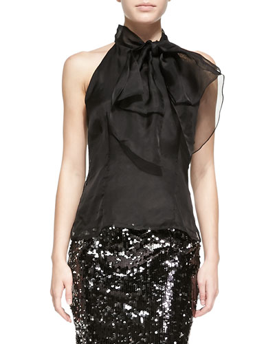 Milly Gwyneth Bow-Neck Organza Top