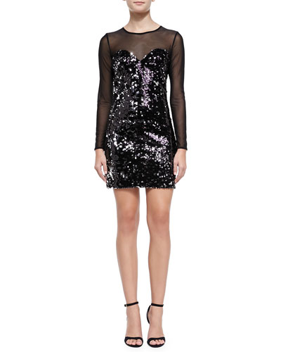 Anouck Mesh-Top Sequined Dress