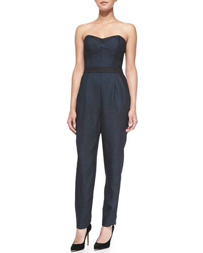 Milly Strapless Twill Bustier Jumpsuit