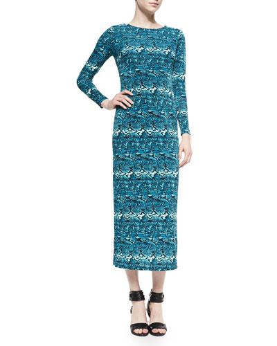 Python-Print Jersey Long Dress, Women's