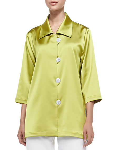 Caroline Rose Radiant Satin Pave-Button Shirt, Citron