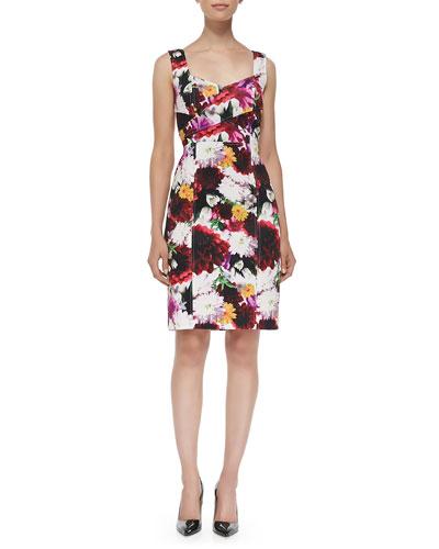 Laundry by Shelli Segal Sleeveless Floral-Print Sheath Dress W/ Cutout Back