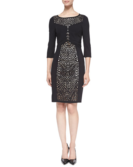 Laundry by Shelli Segal 3/4-Sleeve Sheath Dress W/ Laser-Cut Front