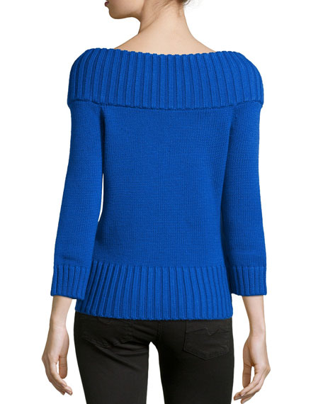 Off-the-Shoulder Ribbed Wool Sweater, Royal