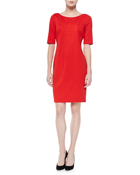 Half-Sleeve Sheath Dress W/ Embroidered Front