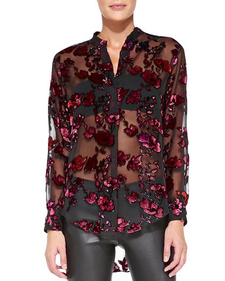 Sheer Floral Velvet Burnout Blouse