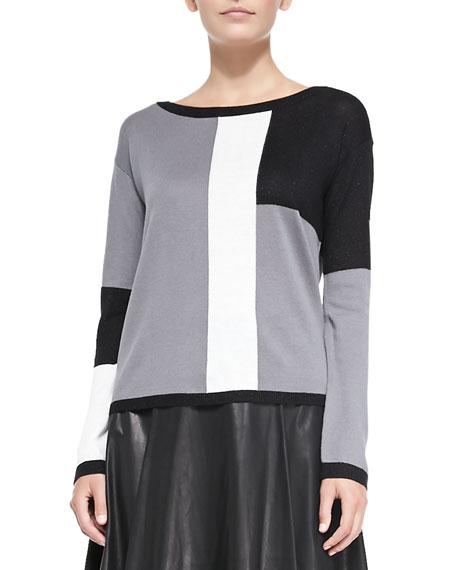 Colorblock Metallic Knit Sweater