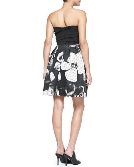 Jordan Strapless Printed-Skirt Dress