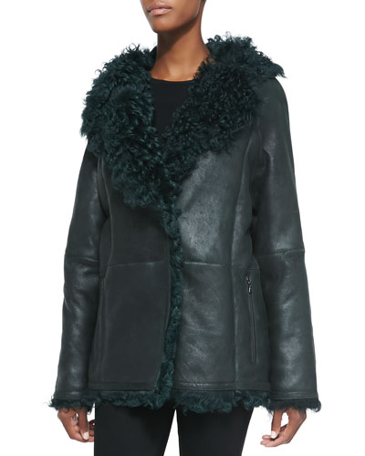 Leather/Shearling Fur Duffle Jacket, Hunter