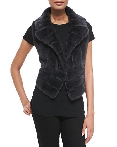 Notch-Collar Mink Fur Vest